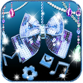Glitter Diamond Bow Theme Blue Shiny Bow