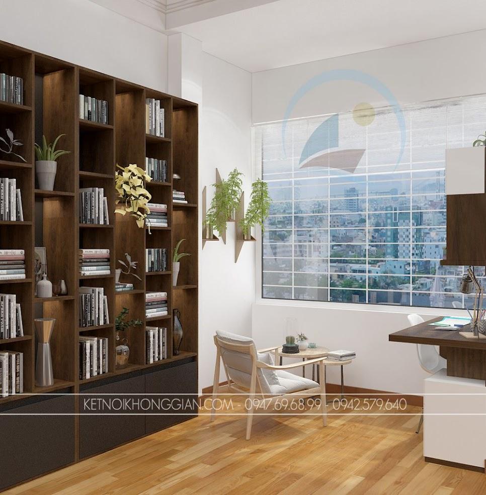 thiết kế phòng đọc sách kết hợp phòng làm việc và phòng học 7