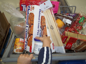 Photo: The seat of the cart was loaded.  (The baby was in the back of the cart).