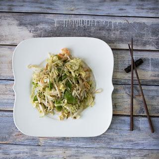 Shrimp and Noodle Salad with Asian Vinaigrette Dressing.