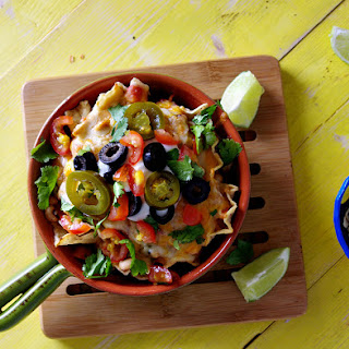 Shredded Chicken, White Corn and Black Eyed Pea Nachos
