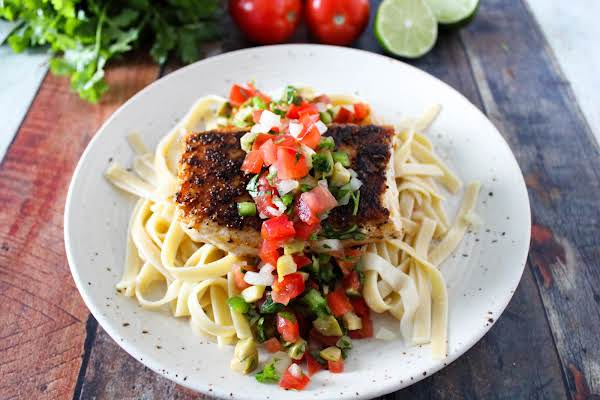 Blackened Red Snapper With Fresh Salsa Over Pasta.