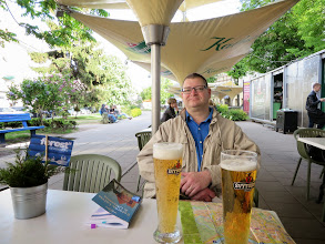 Photo: Enjoying a Lithuanian beer