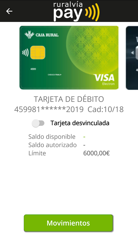 ruralvía pay: captura de pantalla