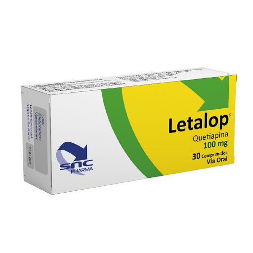 quetiapina letalop 100mg 30comprimidos snc pharma