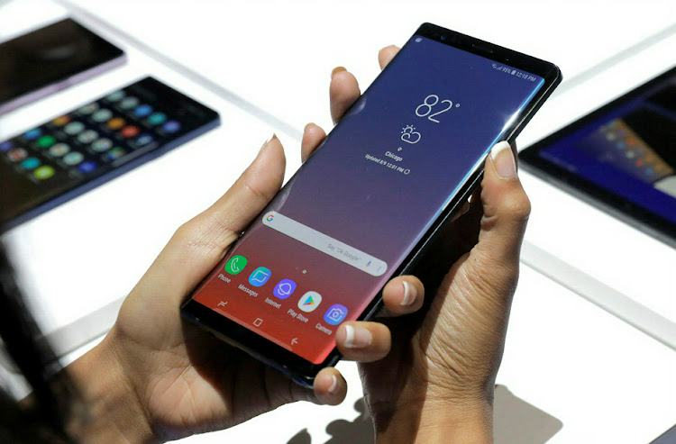 The new Samsung Galaxy Note 9 is seen during a product launch event in Brooklyn, New York, US, August 9, 2018.