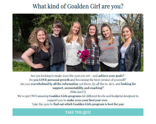 Which type of Goalden girl are you quiz cover?