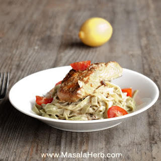 30 Minutes Pan-Fried Salmon in White Wine Sauce with Tagliatelle Pasta.