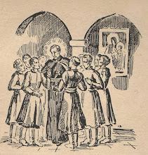 """Photo: Irena Dybowska, drzeworyt. Ilustracja do broszury """"KŁOSY Z BOŻEJ ROLI """" wyd. 1935 r. Jako nauczyciel w kolegiach jezuickich."""