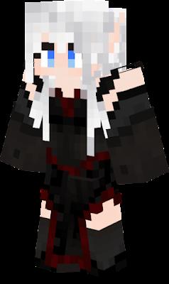Elfin weißes Haar Schwarze kleidung