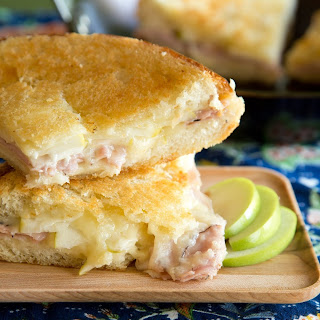 Giant Skillet Grilled Cheese with Ham and Apple