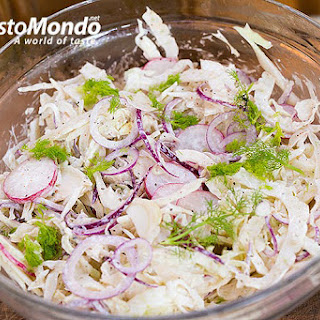 Fennel coleslaw recipe. Fennel, white cabbage, radish and red onion coleslaw..