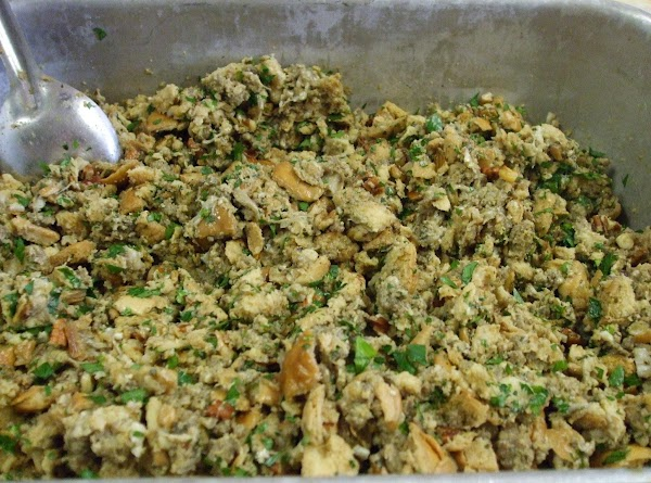Spoon the dressing into a baking dish. Bake at 350 until brown and bubbly.  Note:...