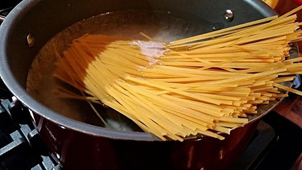 While making sauce, cook pasta and drain well.