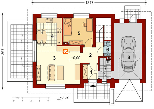 Pinczer 5 z garażem - Rzut parteru