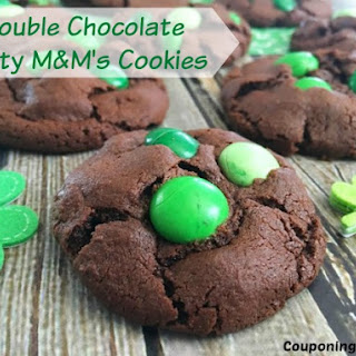 Double Chocolate Minty M&M's Cookies