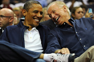 Photo: WASHINGTON, DC - JULY 16: U.S. President Barack Obama and Vice President Joe Biden share a laugh as the US Senior Men's National Team and Brazil play during a pre-Olympic exhibition basketball game at the Verizon Center on July 16, 2012 in Washington, DC. (Photo by Patrick Smith/Getty Images)