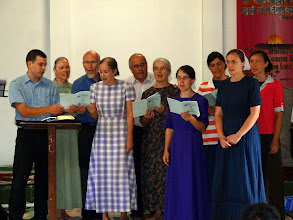 Photo: The IGo-MTM ministry team ministering in songat the conference. On the far left is brother Stephen Burkholder. He is serving with IGo-EQUIP Ministry in Nepal.