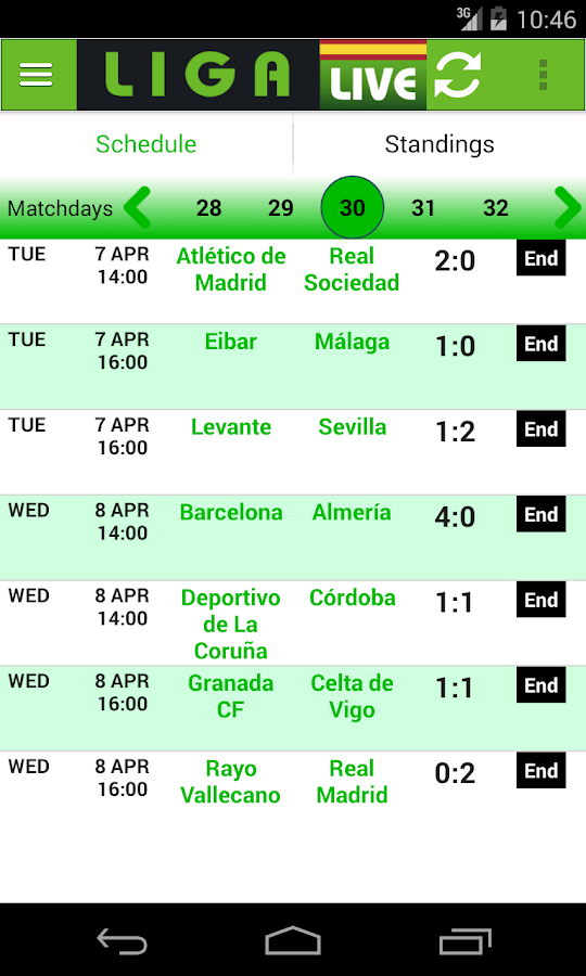 Liga Live- screenshot