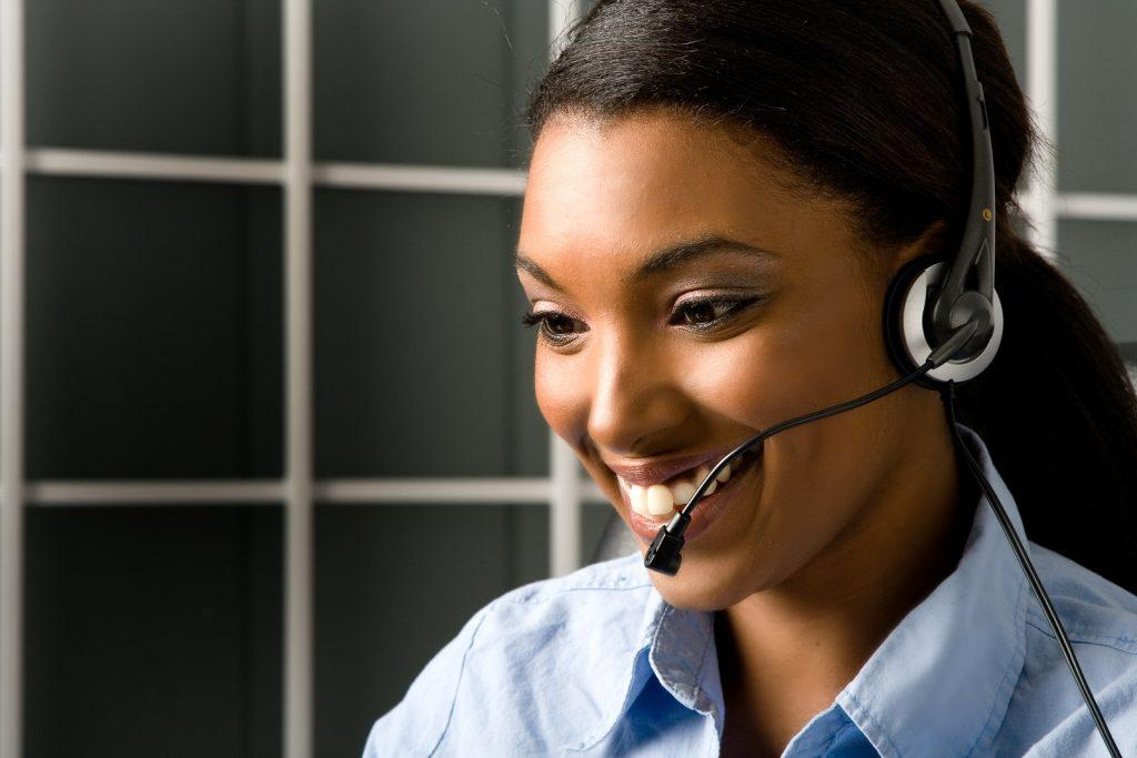 Happy and friendly african american customer service representative