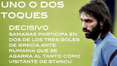 Photo: Samaras firma un partido soberbio para encarrilar el pase de Grecia al Mundial. El buen gol de Stancu da fe a los rumanos de cara a la vuelta