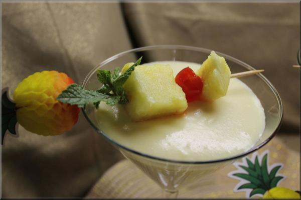 In blender, combine pina colada mix, coconut milk, and vanilla pudding. Blend well, then...