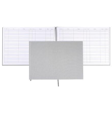 Besöksbok 260x210 textil grå