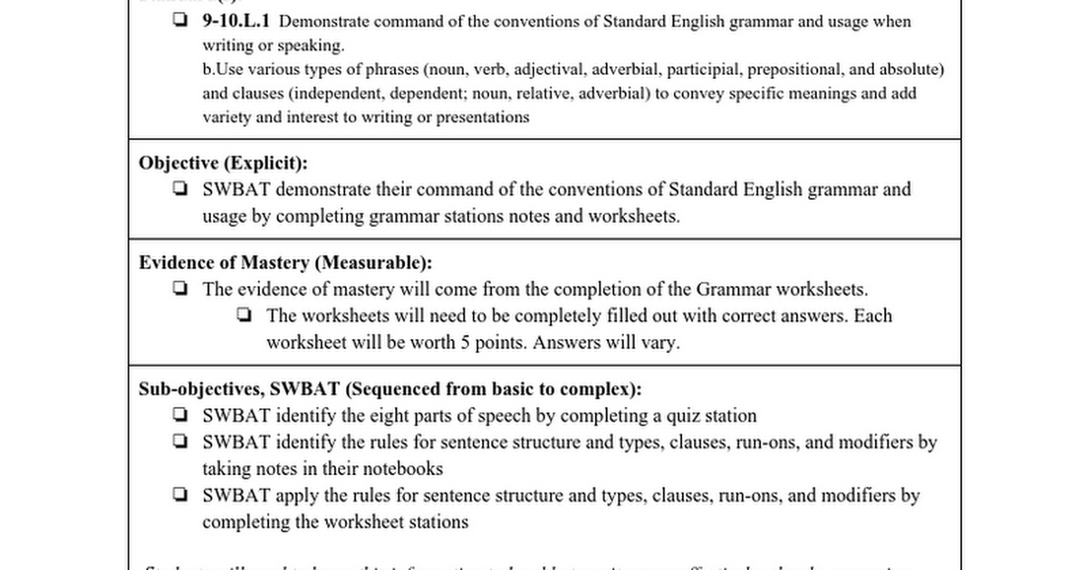 Lesson Plan 91516 Google Docs – Identify Parts of Speech Worksheet