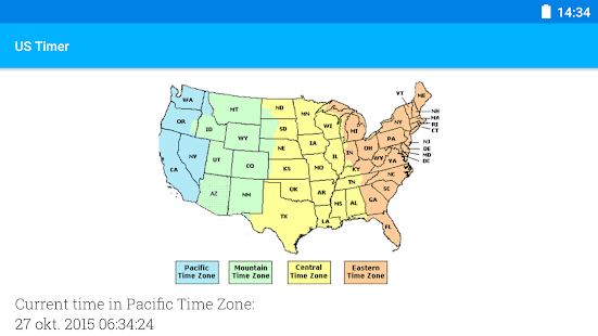 Us timezone map with times