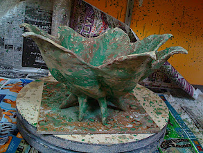 Photo: pod bowl - here splattered with copper carb wash and green underglaze as a stain, the bright green will not survive high fire, it just shows me where I'm throwing the copper wash - ah what a fun mess Ode to Jackson Pollock pots are =P