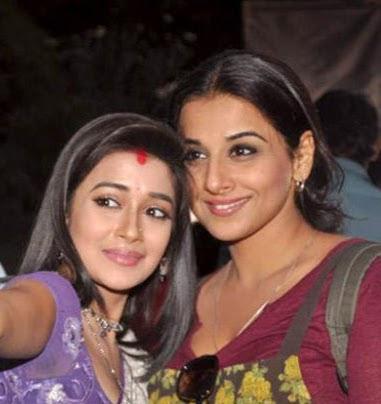 Tina Dutta with Vidya Balan