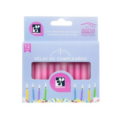 vela bipa de cumpleanos rosado7cm