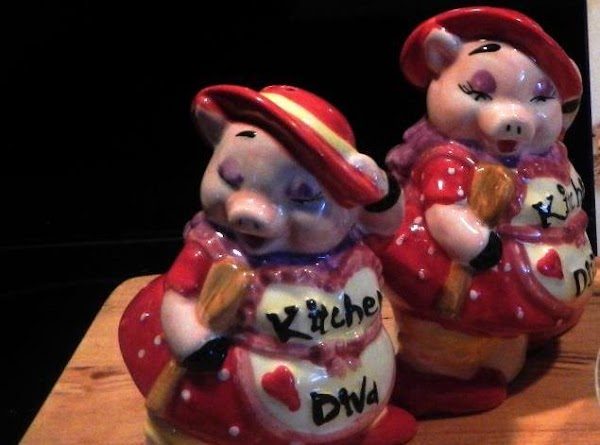 Picture of the Kitchen Divas,salt & pepper shakers I won at our Red Hat...