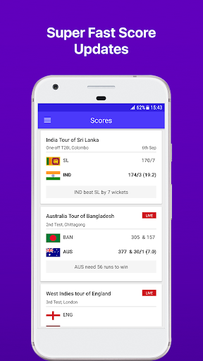 Yahoo Cricket App - Lightning Fast Scores 1.57 screenshots 1
