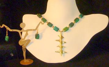 Photo: <BEREHYNYA> {Great Goddess Protectress} unique one-of-a-kind statement jewellery by Luba Bilash ART & ADORNMENT  FLIGHT OF THE CRANES - СЛІД ПО ЖУРАВЛЯХ - antique bronze pendant, Australian jasper, 14K gold vermeil $130/set N/A