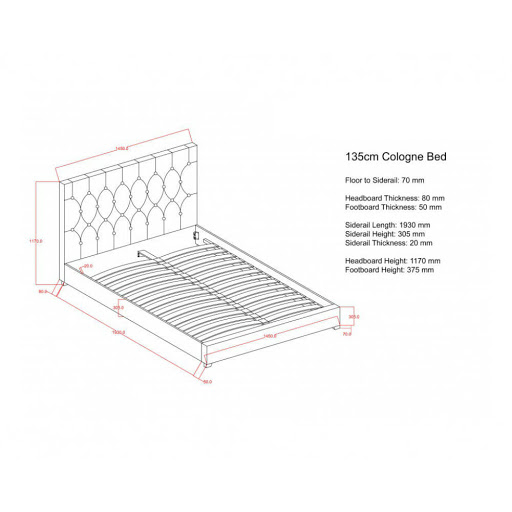 Birlea Cologne Bed Frame Grey