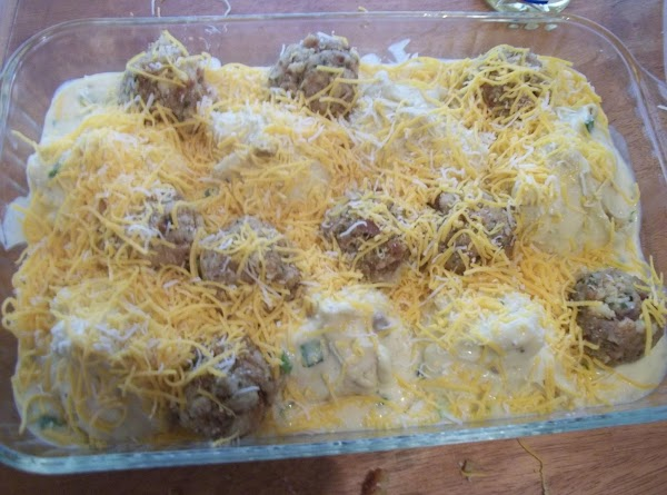 I made a box of stove top stuffing, made balls, and placed them where...