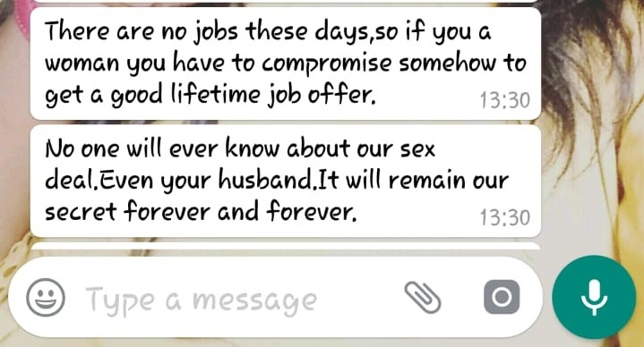"Part of the WhatsApp conversation between a potential ""employer"" and job-seeker who was asked to provide sexual favours."