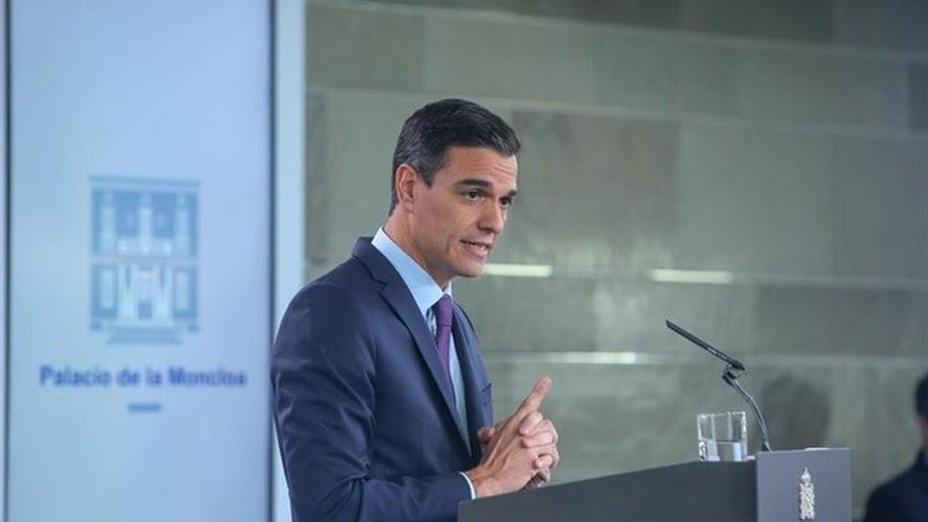 Pedro Sánchez en rueda de prensa.