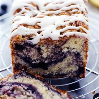 Blueberry Pie Muffin Bread with a Lemon Glaze.