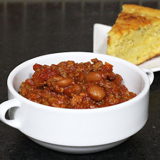Beefy Chili with Pinto Beans.
