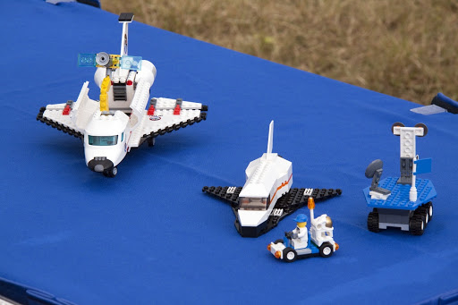Space shuttle and rover models built of LEGO bricks are on display at NASA's Kennedy Space Center and The LEGO Group.