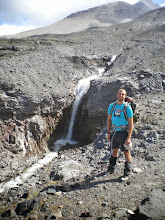 Photo: Dan at Loowit Falls on the northern edge of the crater