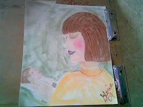 Photo: My attempt to paint me and Samuel when he was a baby, and I first held him. Pan Pastels, at Denver Co 80203,2007