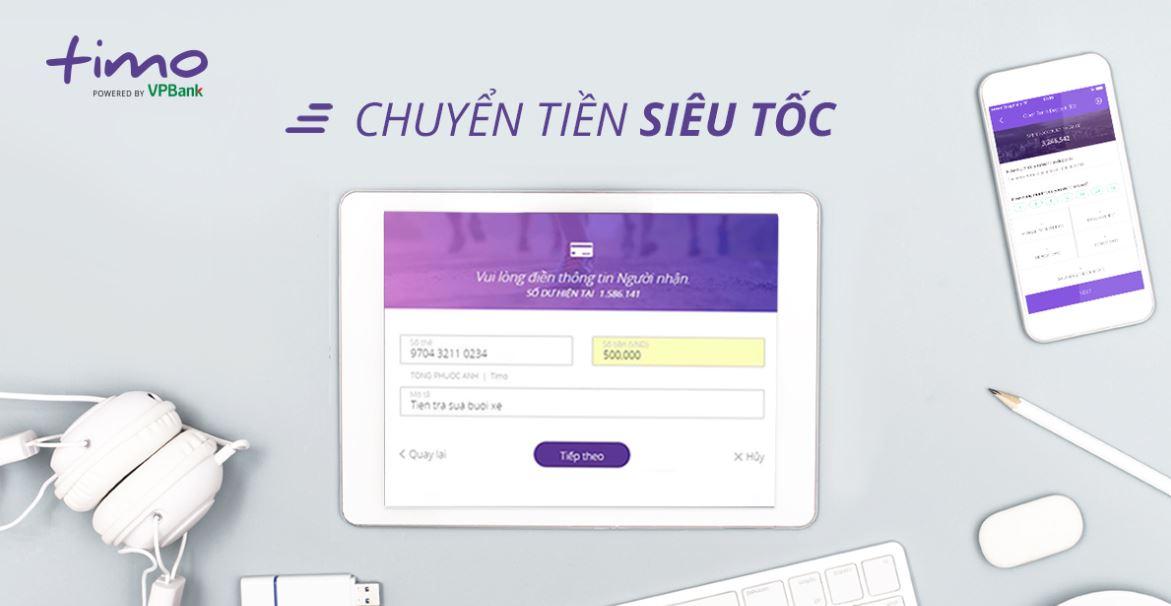 Chuyển tiền đến số tài khoản thẻ Timo
