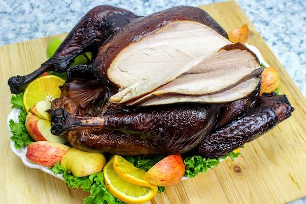 Slices Cut Into The Smoky Juiced Turkey.