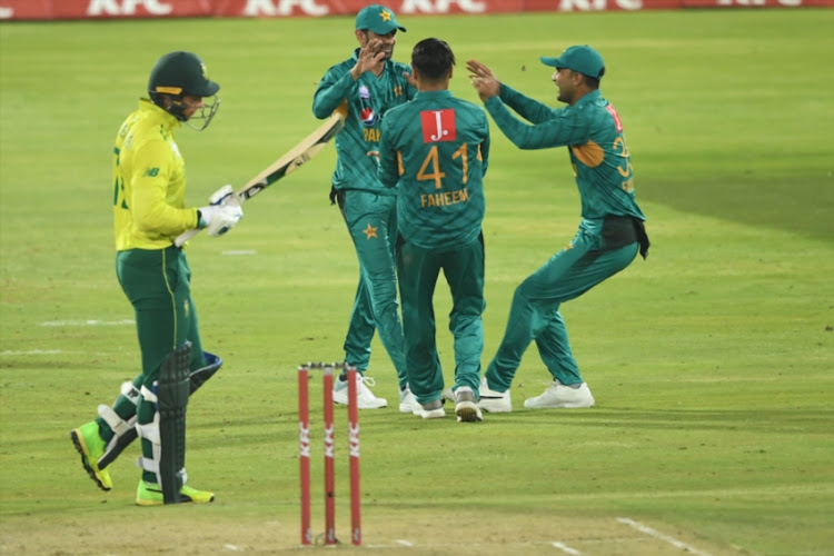 Pakistan celebrate the wicket of Rassie van der Dussen of the Proteas during the 3rd KFC T20 International match between South Africa and Pakistan at SuperSport Park on February 06, 2019 in Pretoria, South Africa.