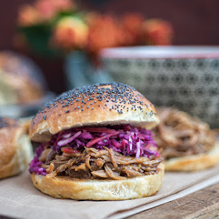Lazy Slow Cooker Pulled Pork With Red Cabbage Slaw.