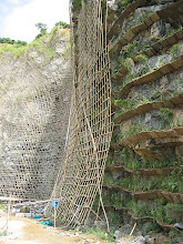 Photo: CHN-QU09  Extreme revegetation with vetiver - Guangdong China.  Artificial terraces have been slotted into quarry face and planted with vetiver and other shrubs