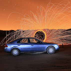 Beached by Graeme Garton - Abstract Light Painting ( car, light painting, firework, vehicle, light trails, night, beach, ford, sparks, mondeo, dusk )
